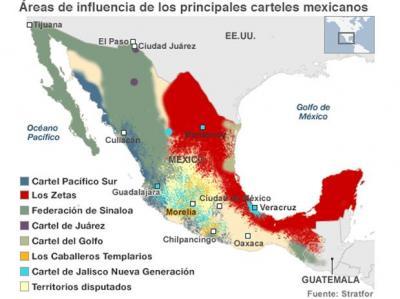 Zonas de influencia de los carteles mexicanos.