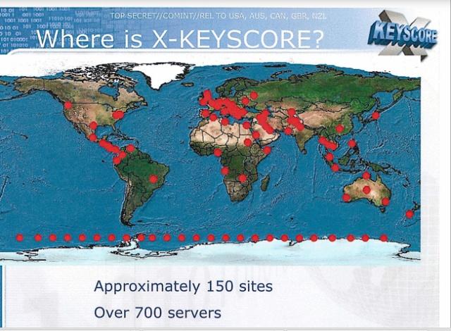 Xkeyscore está en 150 sitios y 700 servidores. Diapositiva de The Guardian.