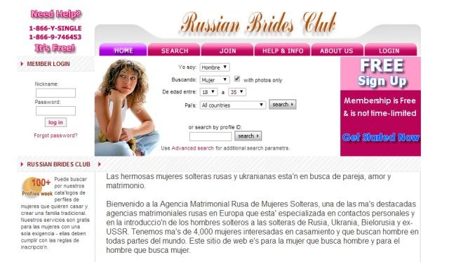 Servicio matrimonial ofreciendo un catálogo de mujeres rusas.