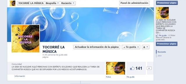 Página de Facebook de TOCORRÉ LA MÚSICA.
